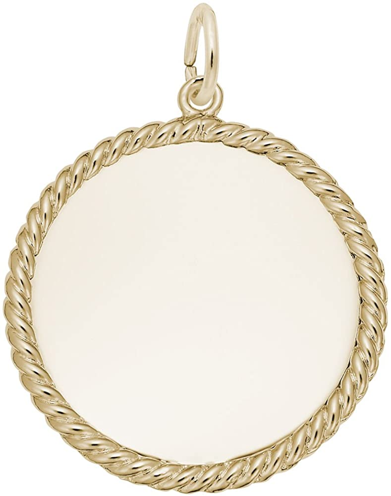 10k Yellow Gold Rope Disc Charm, Charms for Bracelets and Necklaces