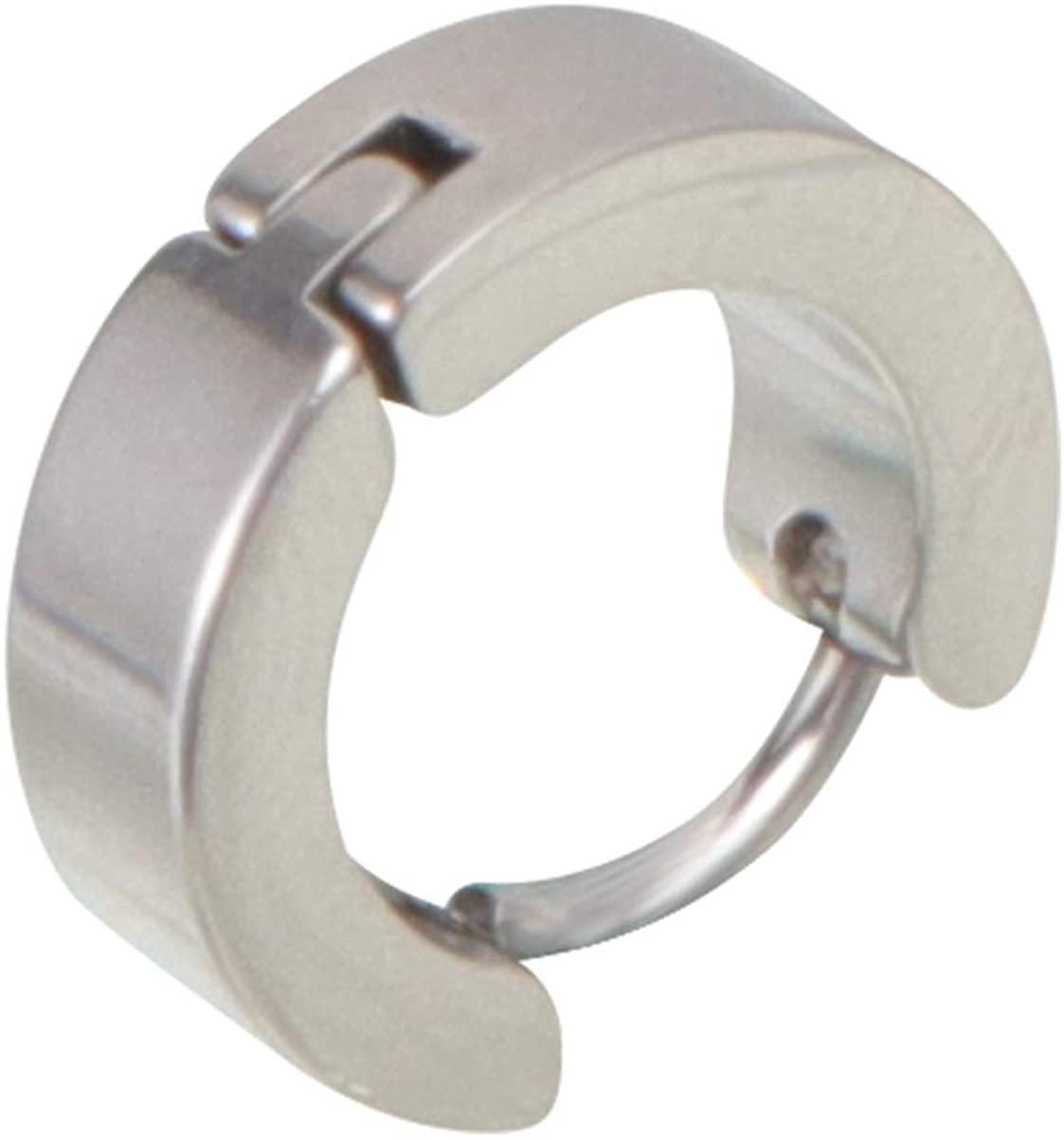 Happyyami Huggie Hoop Earrings Stainless Steel Punk Hinged Earrings Stud Earrings Ear Jewelry for Men Women (Black)