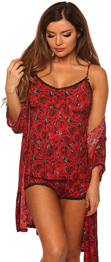 Velvet Kitten Women's Roses are Red Robe Set