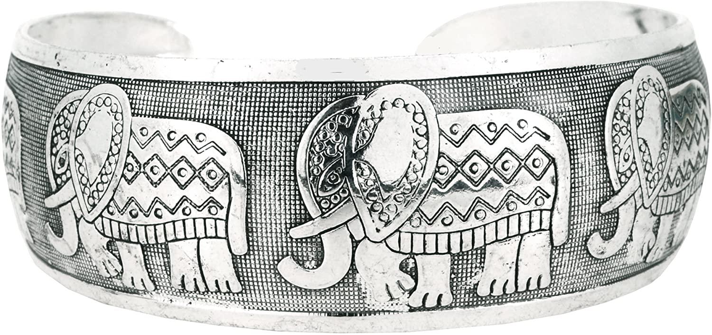 Mandala Crafts Unisex Alloy Silver Tone Unique Wide Cuff Bracelet