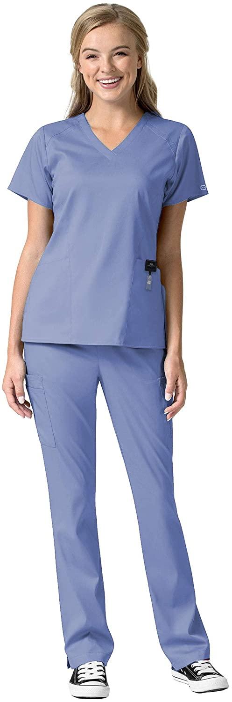 WonderWink Pro Women's Scrub Set Bundle- 6319 V-Neck Scrub Top & 5319 Cargo Pants & Marc Stevens Badge Reel