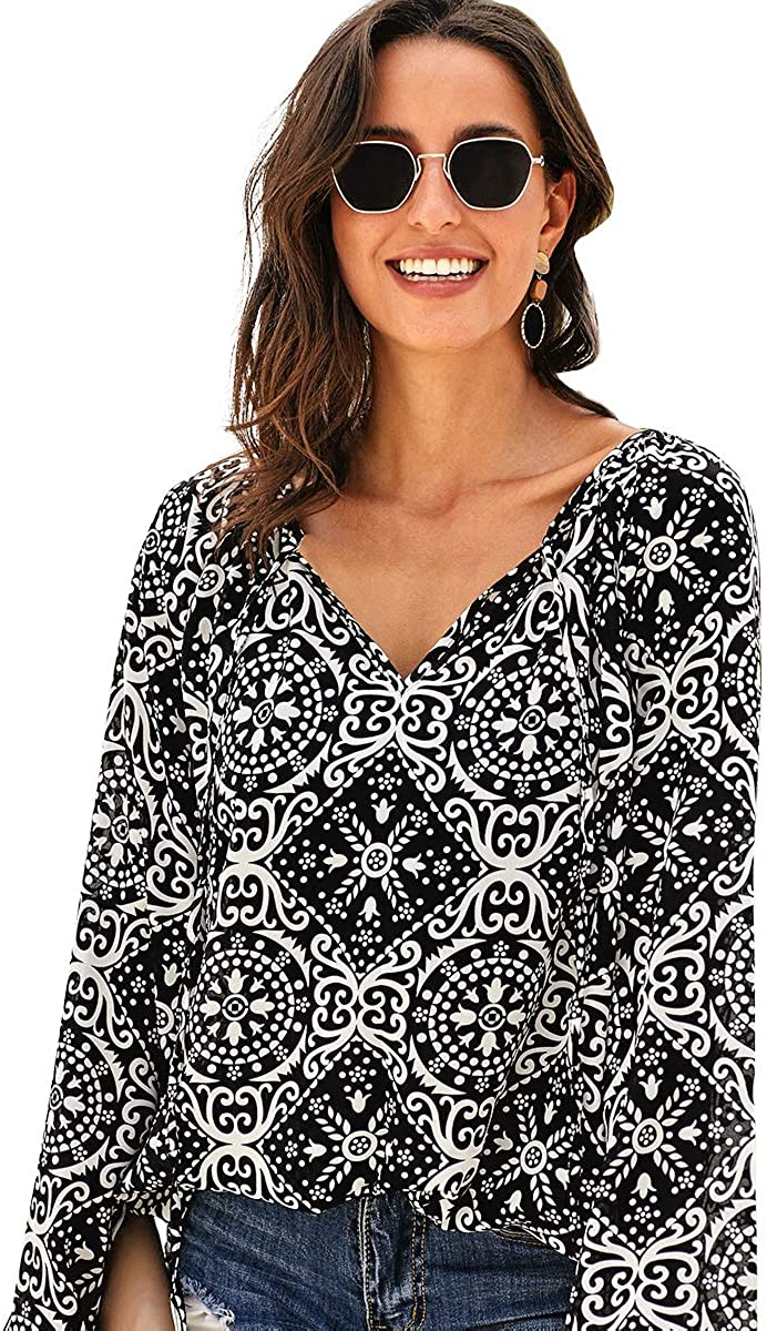 Women V-Neck Print Long-Sleeve Shirt Geometric Hem Bohemian Style Fall Loose Casual Pullover Tops