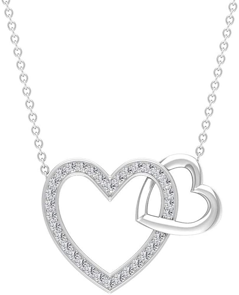 Interlocking Heart Pendant, SGL Certified 0.26 Ct Diamond Charm Necklace, Forever Valentine Pendant, Women Anniversary Necklace, Promise Pendant