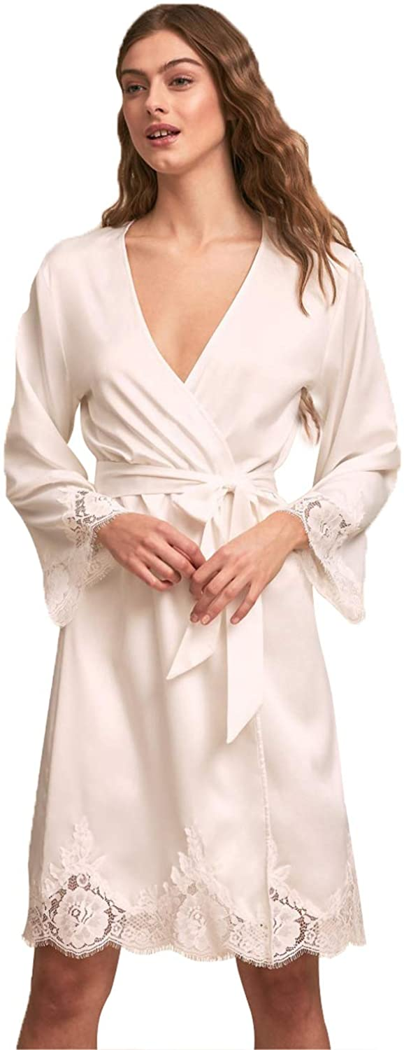 Lace Satin Short Robes for Women Lingerie Set, Bathrobes Bandage Lace Mesh Babydoll Sleepwear