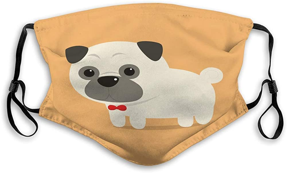 Reusable Cover Covers Cute Pug Dog red Ribbon Neck Geometric Covers