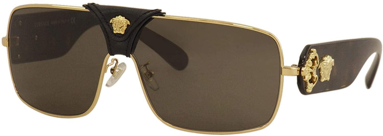Versace VE2207Q Gold/Medusa/Black Leather/Brown One Size