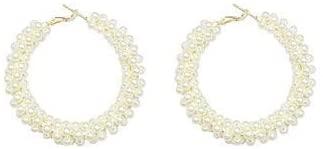 Glitziest Women's Minimalist Faux Pearl Ear Cuff Hoop Earrings Gold Ear Cuff No Piercing Need Bohemia Stackable C Shaped Small Earcuffs Clip Earrings for Women Wedding Jewelry