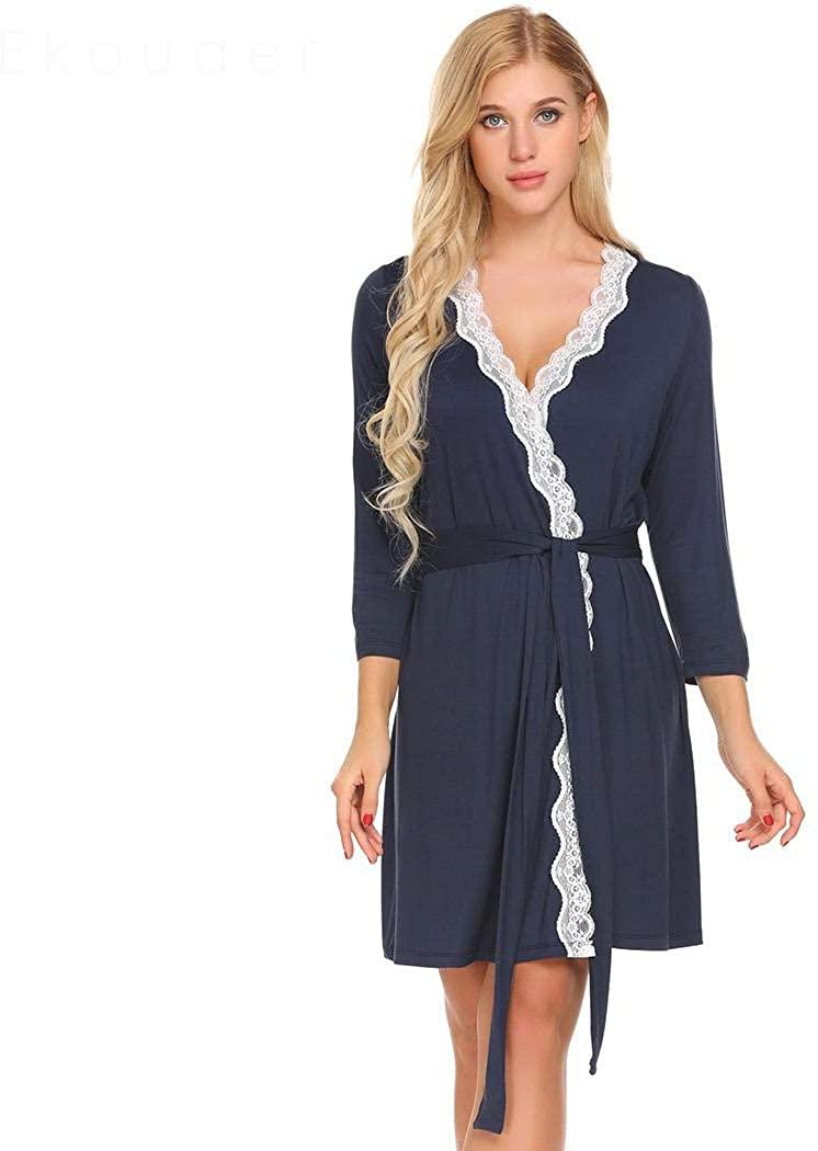 BathGown Kimono Bathrobe for Women with 3/4 Sleeves Lightweight Cotton Short Longewear for SPA Bathing Wedding Navy