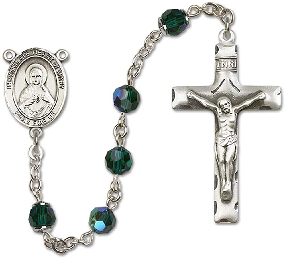 All Sterling Silver Rosary with Emerald, 6mm Swarovski, Austrian Tin Cut Aurora Borealis Beads. Immaculate Heart of Mary Center.