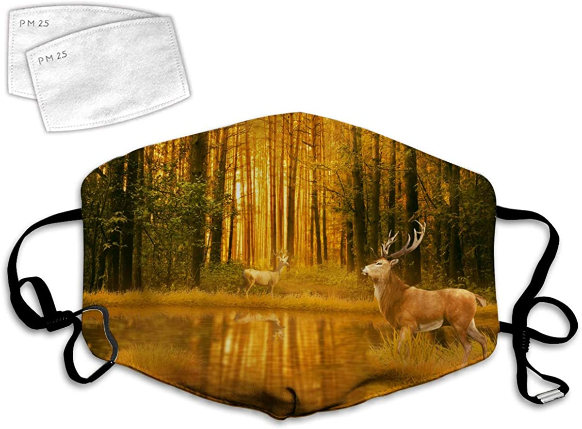 Multi Usage Face Cover UP Forest Deer Hunting Theme Autumn Nature Wildlife Animal Elk Antler Hunting Season Sunset Reflection Doe Woods Fawn Balaclava Reusable Windproof Mouth Cover with 2 Filter
