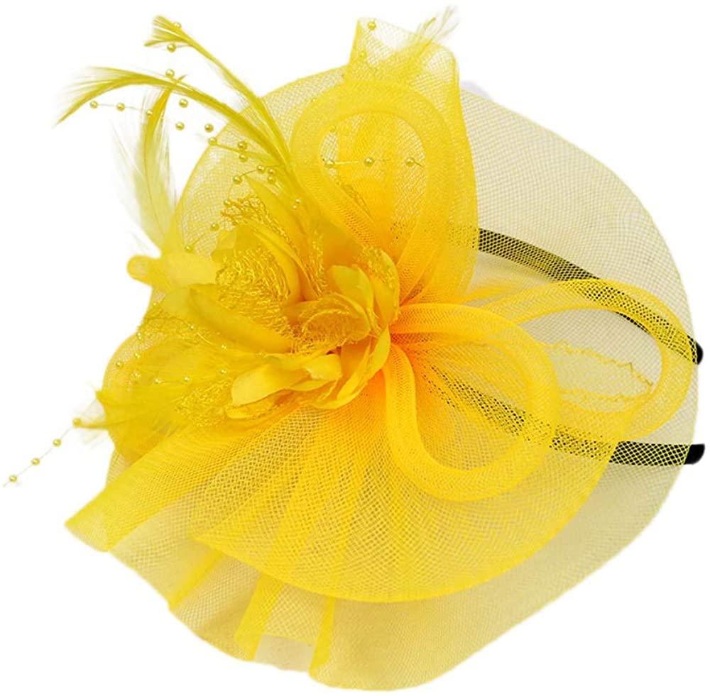 Yiduore Fascinators Hat for Women Flower Tea Party Wedding Headwear Top Hat Flapper Headbands