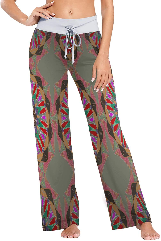 Womens Pajama Lounge Pants Oriental Watercolor Pattern Wide Leg Casual Palazzo Pj Sleep Pants Girls