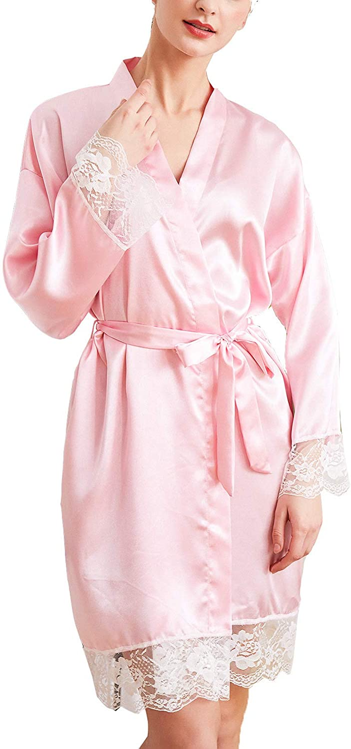 Lu's Chic Women's Silk Lace Robes Kimono Luxury Long Sleeves Bridal Solid Color Loungewear