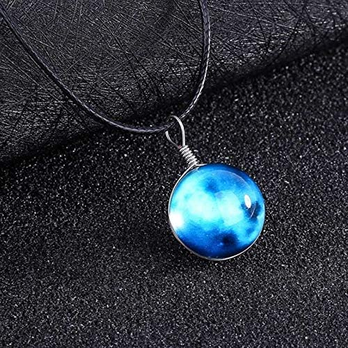 Davitu Choker Women Necklace Statement 1PC New Universe Crystal Fashion Chain Pendant Double-Sided Night Lights Jewelry - (Metal Color: 2)