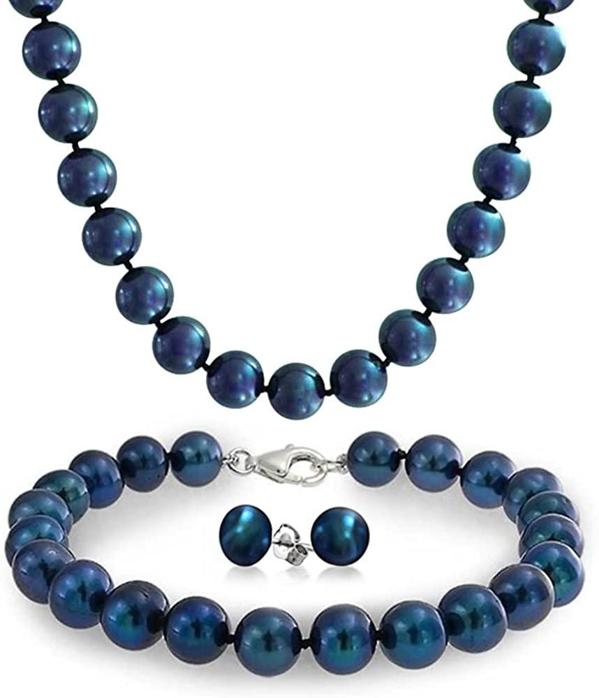 Bridal Set White or Black Blue Freshwater Cultured Pearl Strand Necklace Bracelet Earrings Stud Earring Set For Women