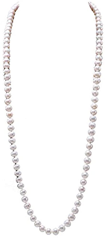 JYX 8-9mm Near Round White Cultured Freshwater Pearl Necklace Endless Long Sweater Necklace