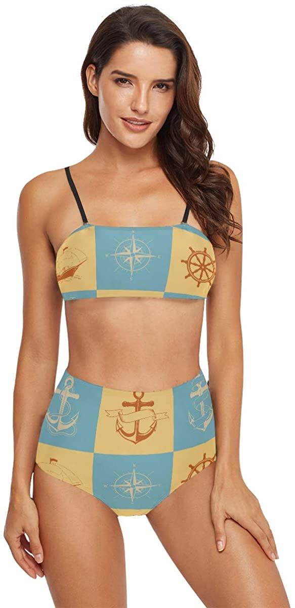 MCHIVER High Waisted Swimsuits Women Bikini - Nautical Signs Bathing Suits Teens Girls Swimwear