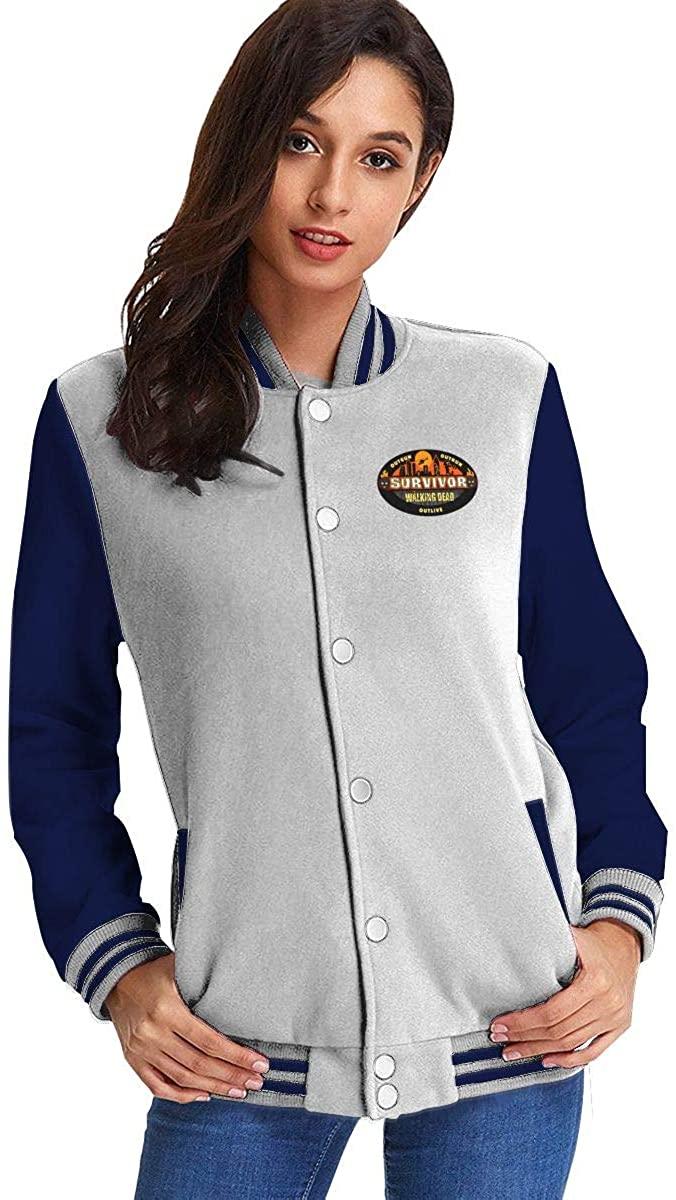 Survivor CBS Tv Television Show Baseball Slim Fit Uniform Women's Fleece Baseball Jacket Sweater Coat