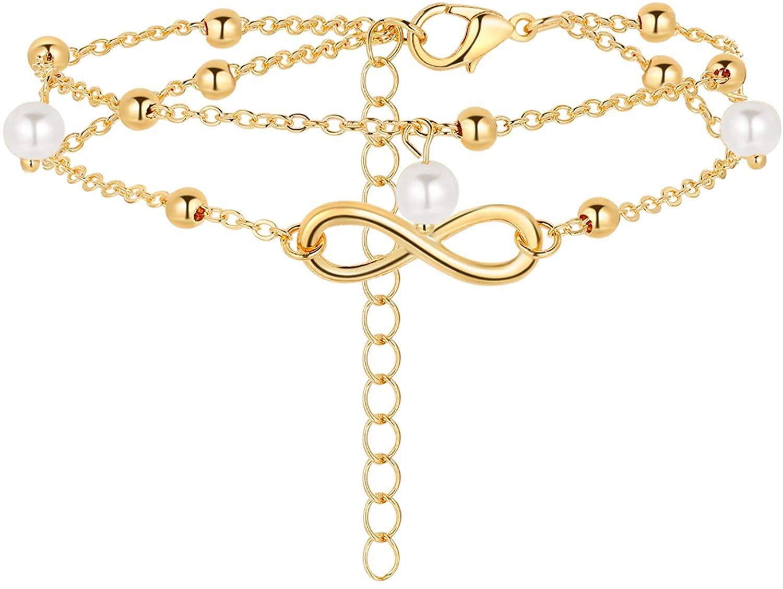 morniface Women Dainty Anklet,14K Gold Filled Handmade Layered Anklet Cute Evil Eye Star Cross Beaded Foot Chain,Summer Ankle Bracelets for Women Boho Beach Foot Chain