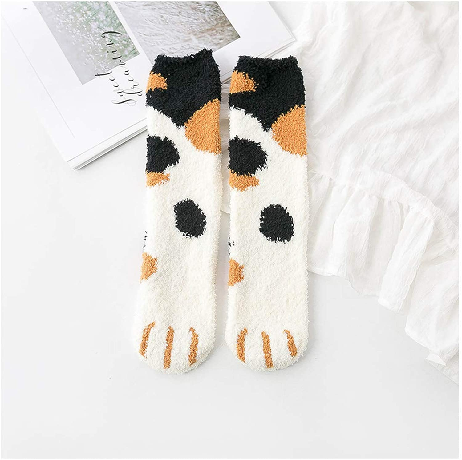 Fluffy Warm Socks Animal Coral Socks Thick Socks Striped Cartoon Women Short Cute Socks