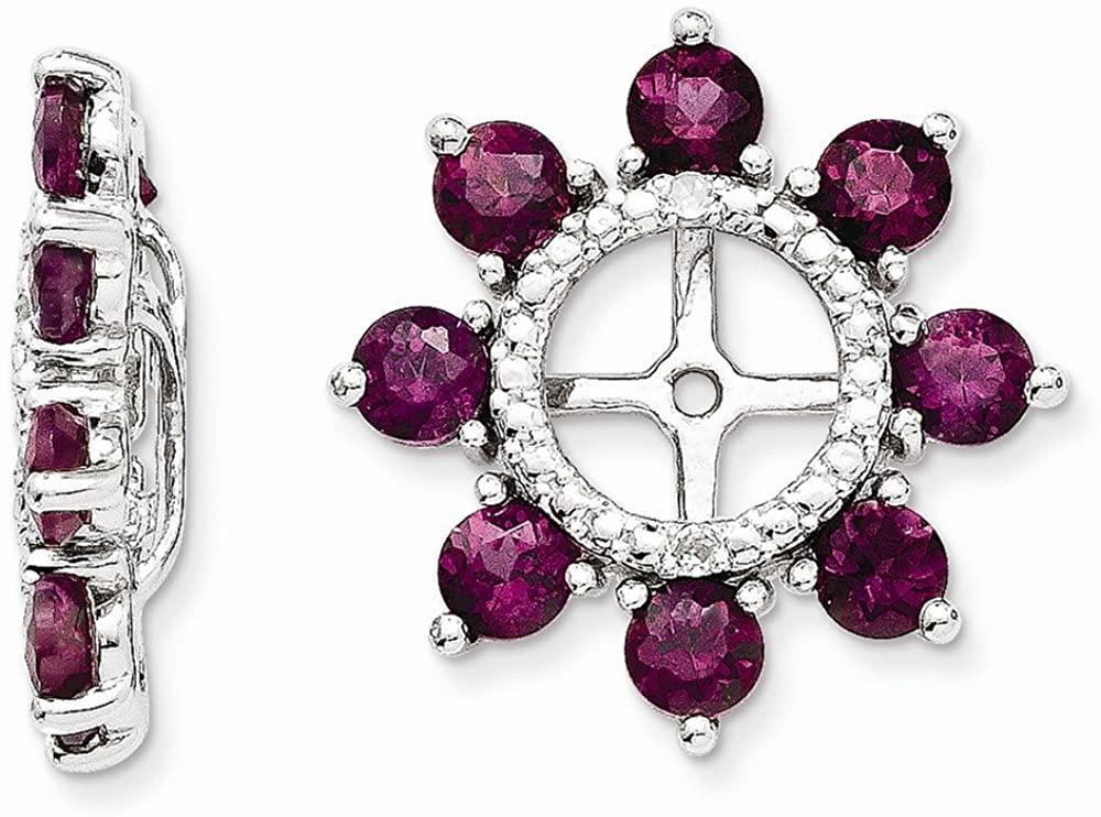 Sterling Silver Diamond & Rhodolite Garnet Earring Jacket