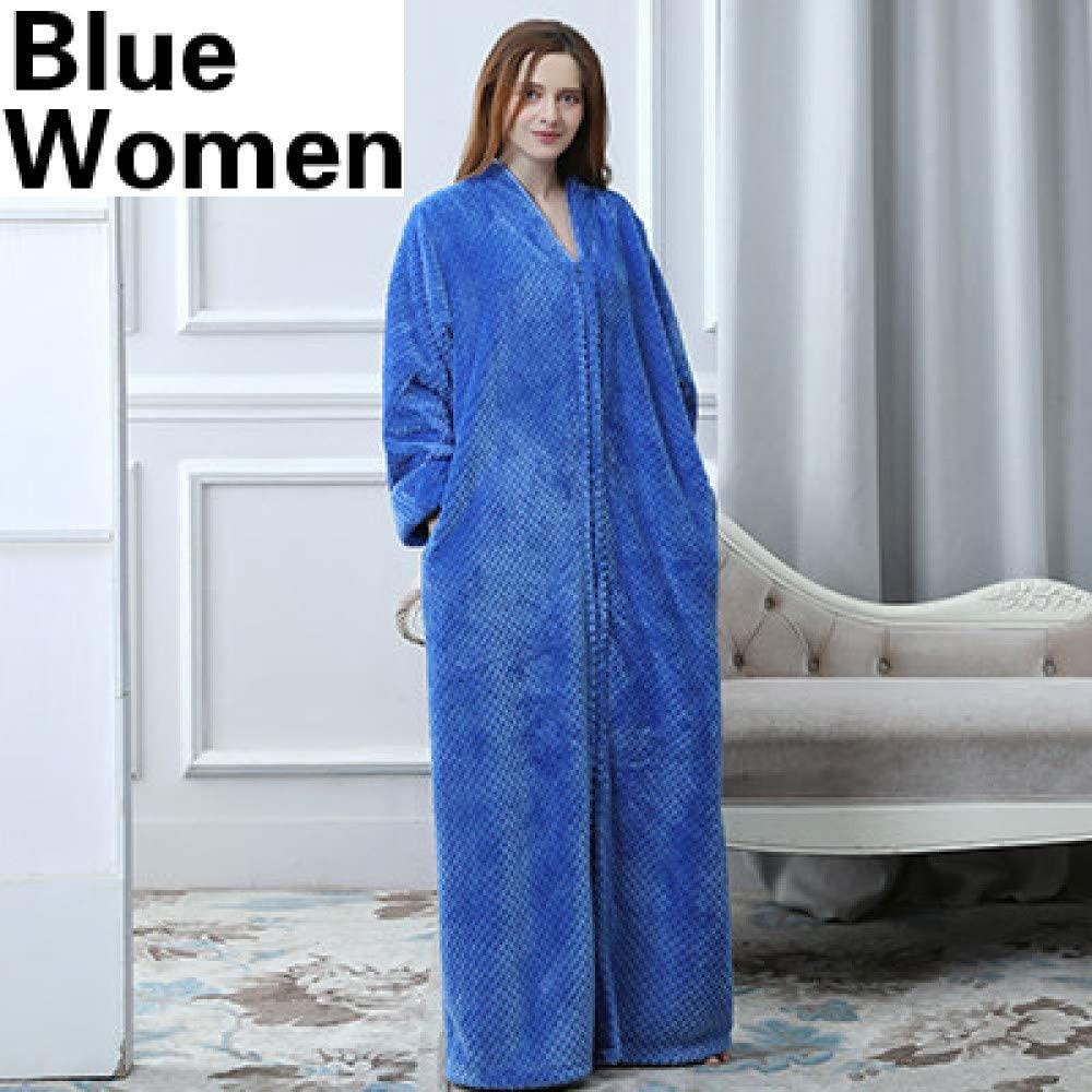 llwannr Bathrobe Robe Nightgown Sleep,Men Women Plus Size Extra Long Warm Coral Bathrobe Winter Thick Flannel Thermal Bath Robe Male Dressing Gown Mens Robes,Women Blue,L