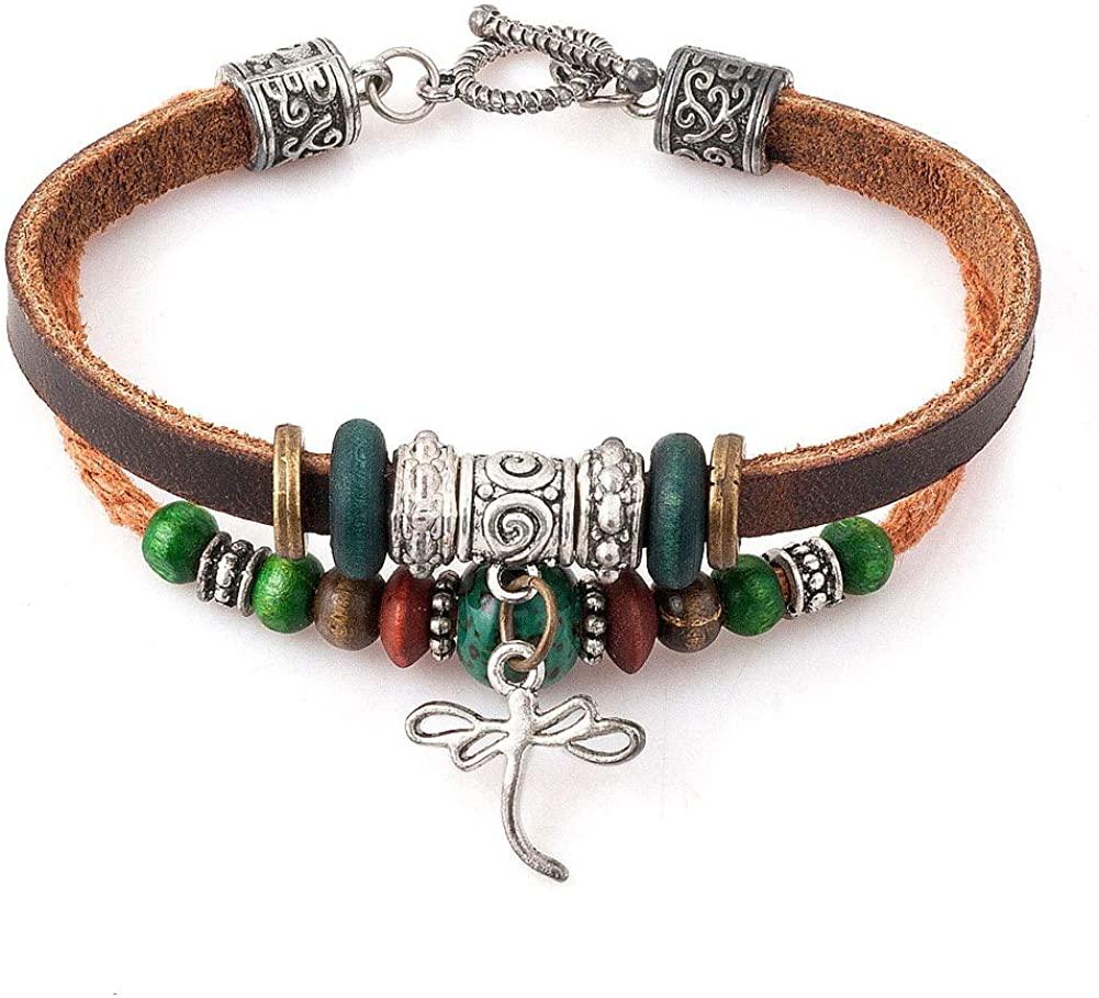 LoEnMe Jewelry Elephant Anchor Fleur De Lis Bali Wooden Bead Animal Leather Bracelet Women Men Boy Girl Gift