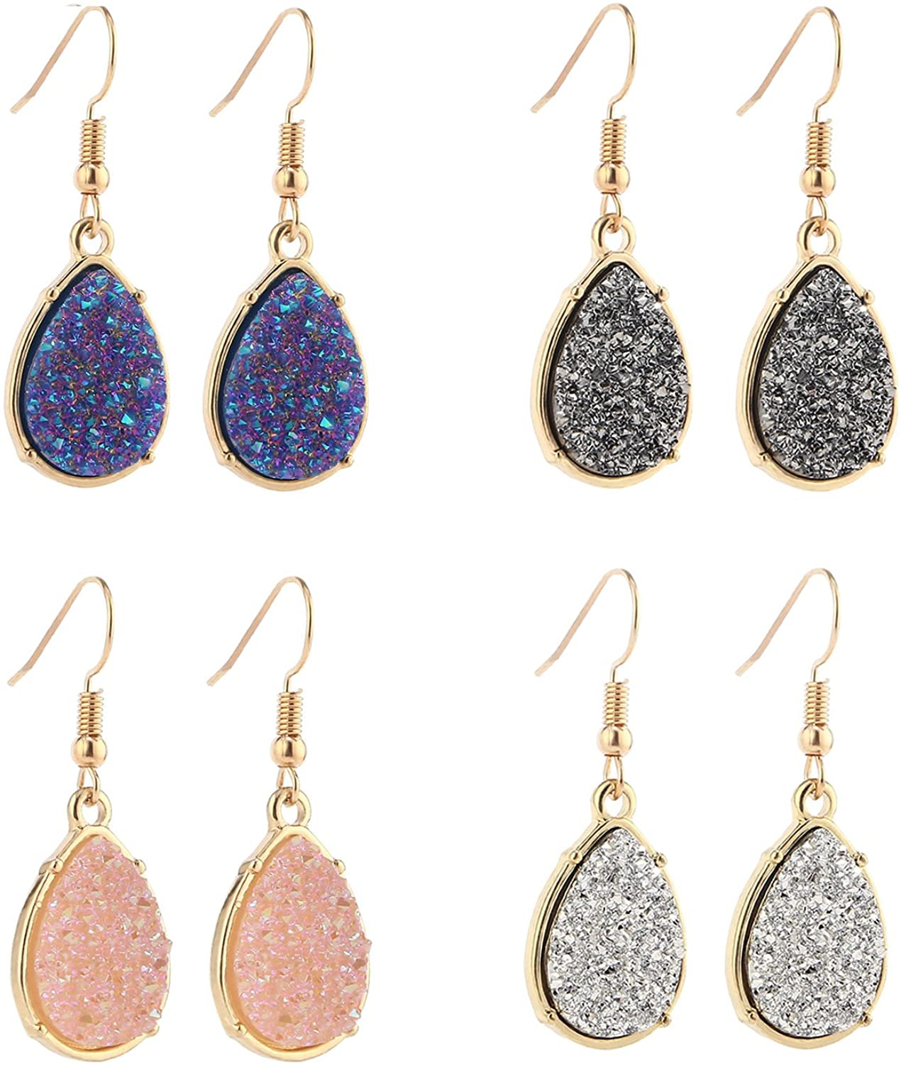 BaubleStar Chic Simulated Druzy Earrings Tear Drop Dangle Earrings