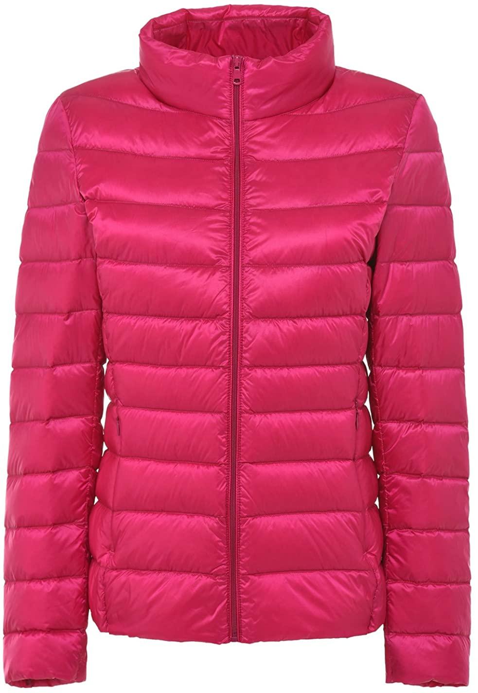 chouyatou Women's Stylish Packable Zip Ultra Lightweight Goose Down Jacket