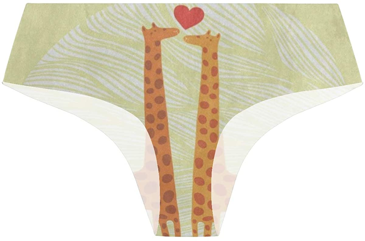 Valentine Giraffe Love Yellow Cute Womens Hipster Panties Seamless Cheekini Panty Bikini Underwear