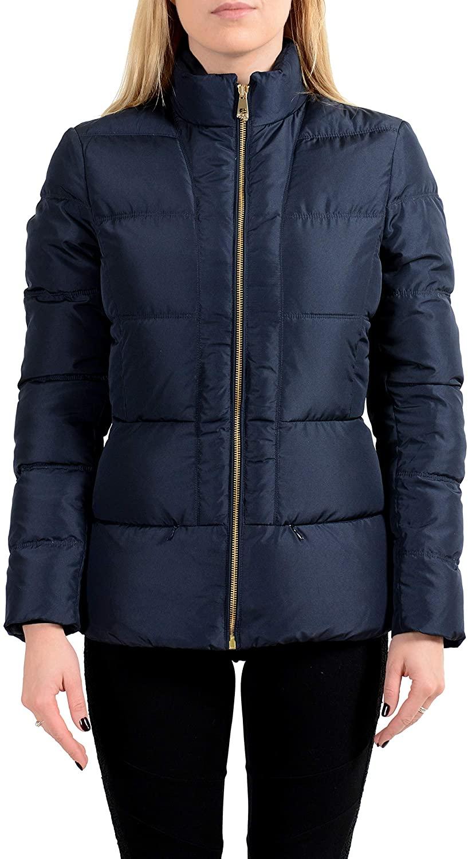 Versace Collection Women's Navy Blue Down Full Zip Parka Jacket Sz US L IT 44
