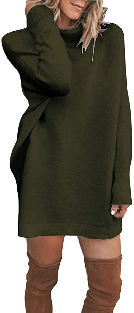 NRUTUP Womens Winter Turtleneck Casual Long Sleeve Loose Bottom Knit Sweater Mini Dress Top Blouse