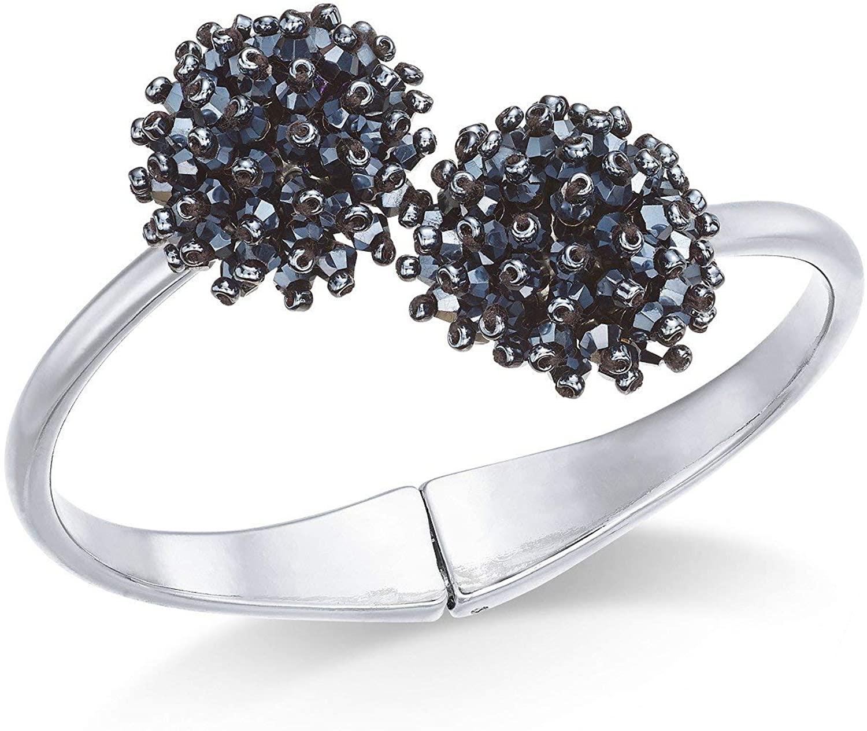 INC International Concepts I.N.C. Silver-Tone Crystal Cluster Hinge Bangle Bracelet