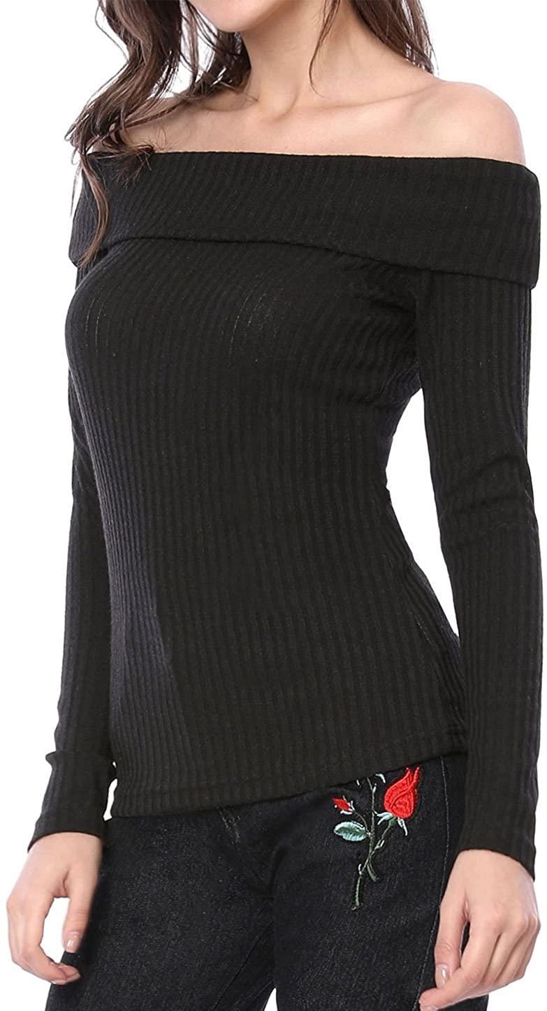 Allegra K Women's Long Sleeve Slim Fit Off The Shoulder Knit Top