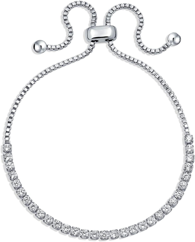 Bling Jewelry Bolo Style Tennis Bracelet for Women Cubic Zirconia CZ Bracelet Foe Women Rose Gold and Silver Plated Brass Adjustable
