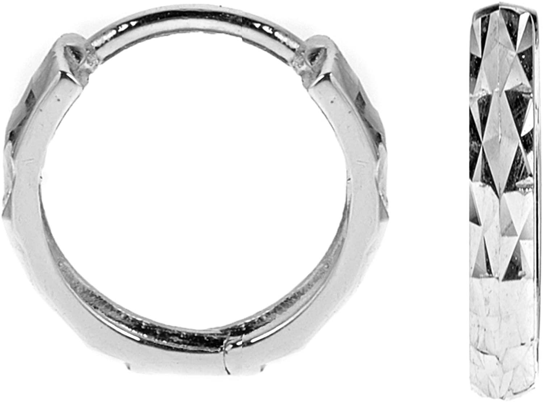 Ritastephens Unisex 14k Gold Small or Regular Square Tubular Diamond-cut Huggie Hoops Single Earring