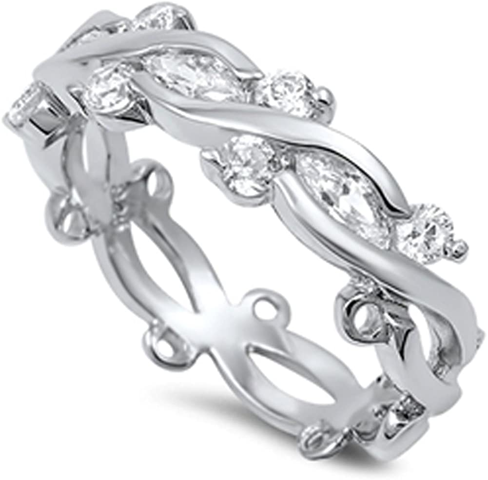 White CZ Criss Cross Infinity Stackable Ring 925 Sterling Silver Band Sizes 5-10