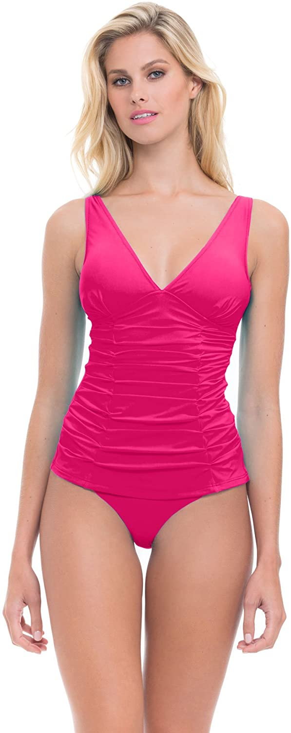 Profile by Gottex Women's Pleated Ruching V-Neck Tankini Top Swimsuit