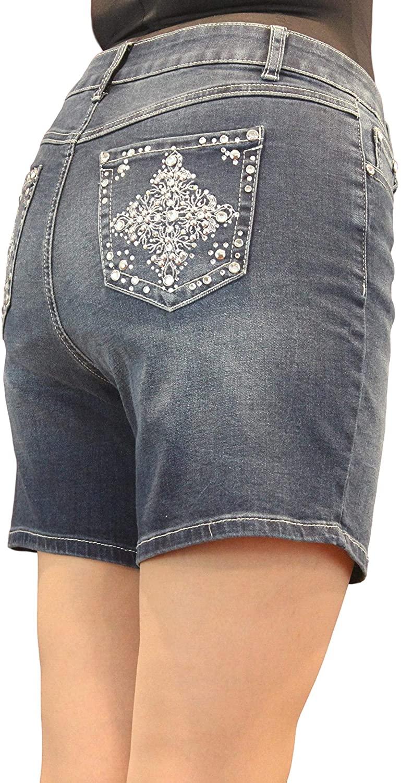 Women Jean Missy and Plus Crystal Embellishment Short PJM176 PJP177 (16W) Blue
