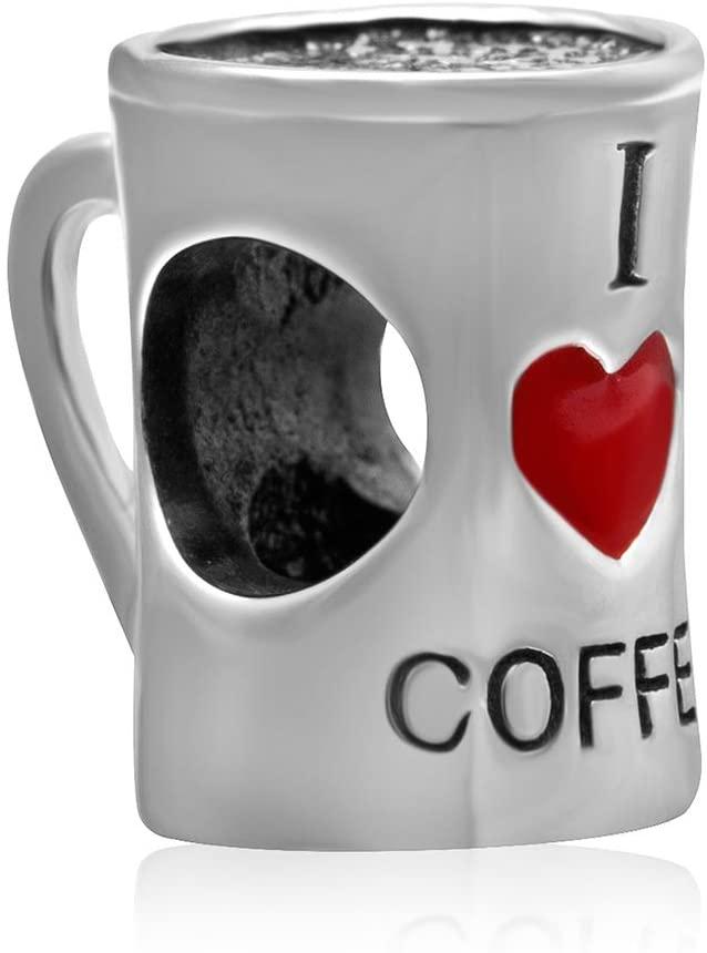 Coffee Cup Charm Sterling Silver Coffee Mug Charm I Love Coffee Charm Bracelet Bead-Gift for Coffee Lover