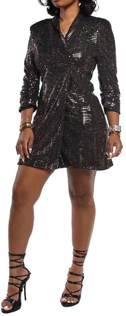 Ruhua Womens Sequin V-Neck Midi Slim Long Sleeve Casual Jacket Coat