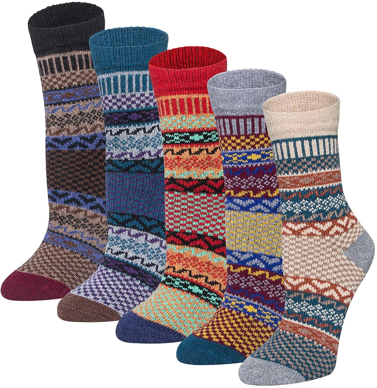 5 Pairs Womens Wool Socks Thick Knit Vintage Winter Warm Cozy Crew Socks Gifts Multi B