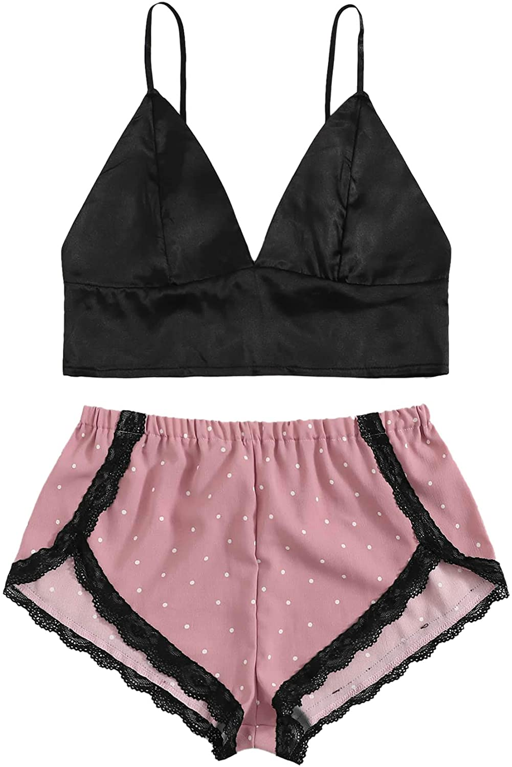 SOLY HUX Womens 2 Piece Outfit Satin Pajama Set Bralette and Lace Trim Shorts Sleepwear