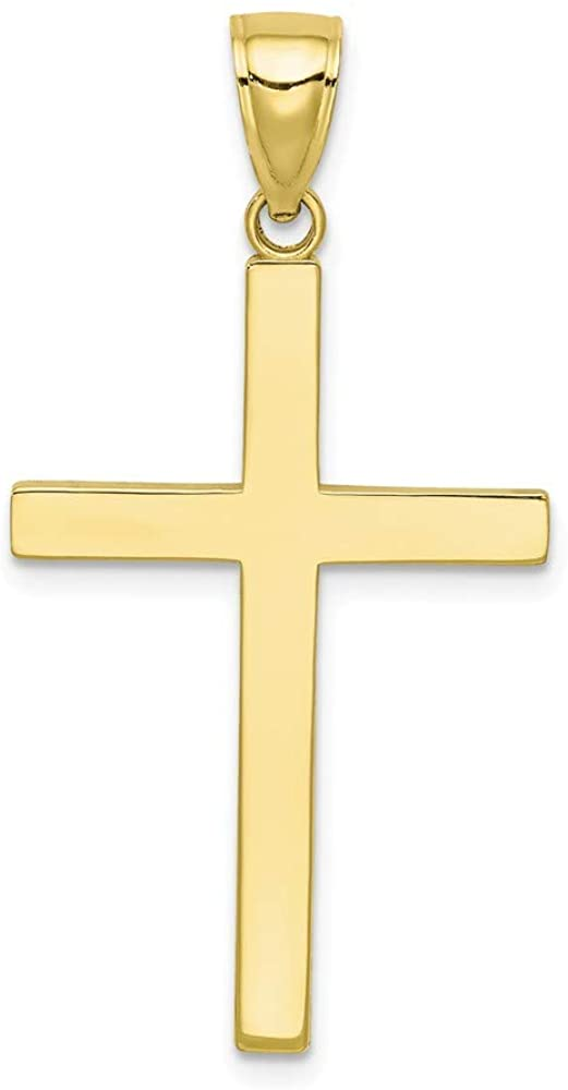 Solid 10k Yellow Gold Cross Pendant Charm