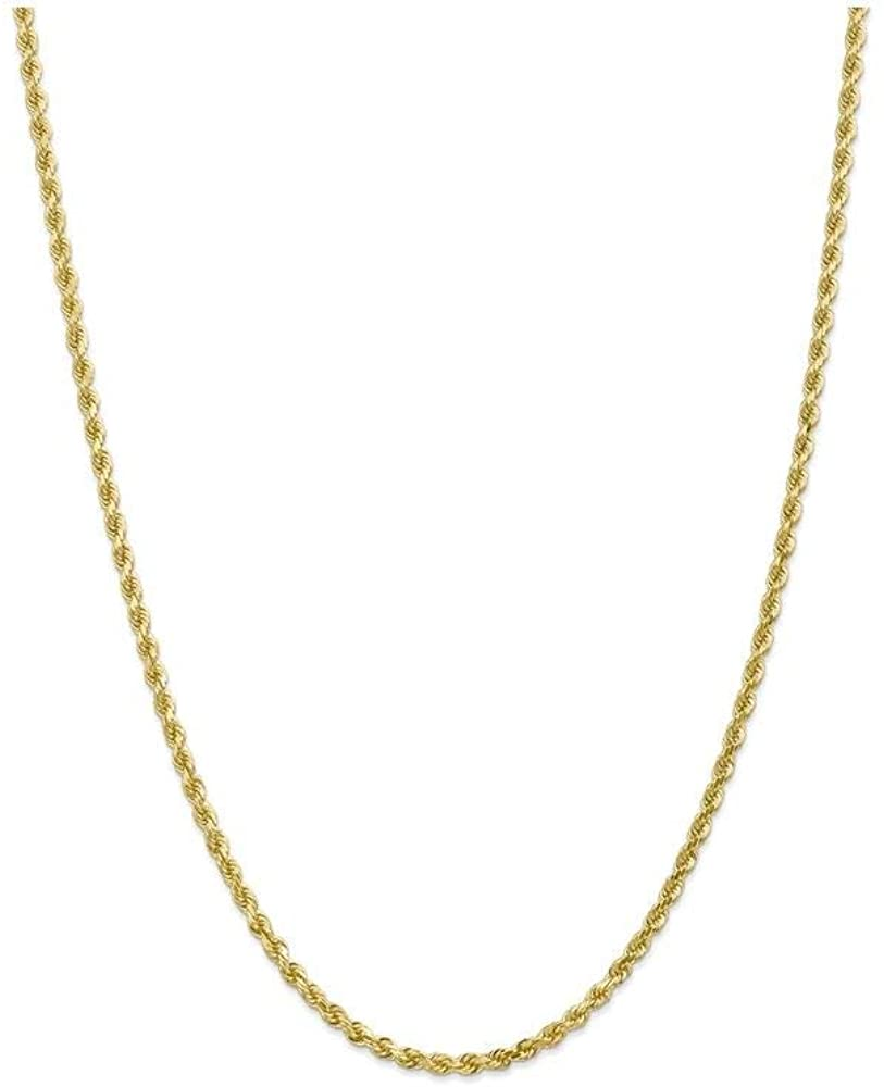 Finejewelers 9 Inch 10k 3mm Handmade bright-cut Rope Chain Ankle Bracelet (Smaller Ankles) 10k Yellow Gold