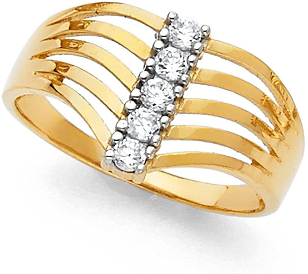 14k Yellow Gold Semanario Band CZ Fashion Ring Five 5 Day Stackable Look Polished Fancy