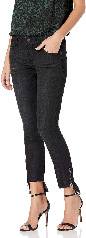 SIWY Women's Ciara Low Rise Hem Zip Skinny in Black Eclipse