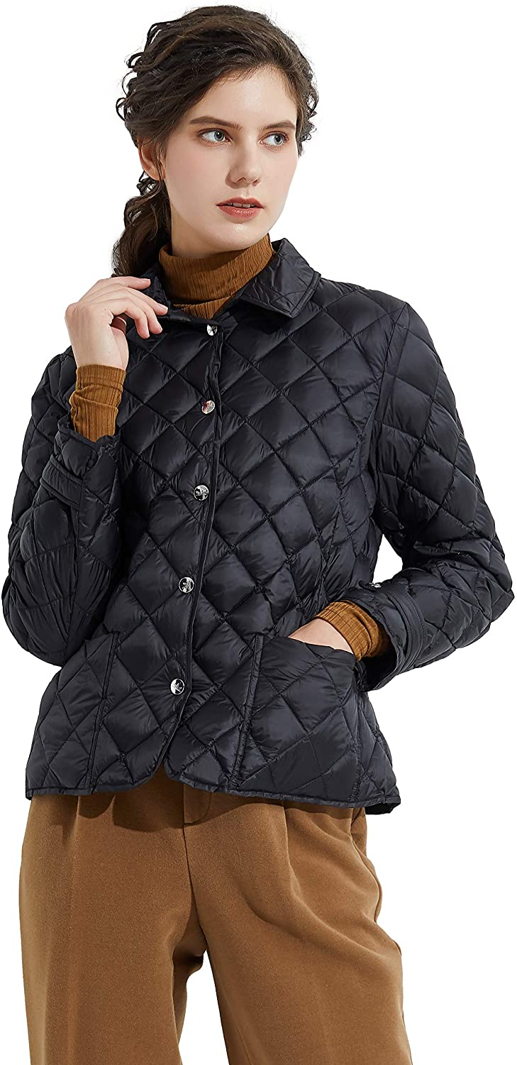 Orolay Womens Light Cropped Puffer Jacket Diamond Quilted Packable Down Jacket