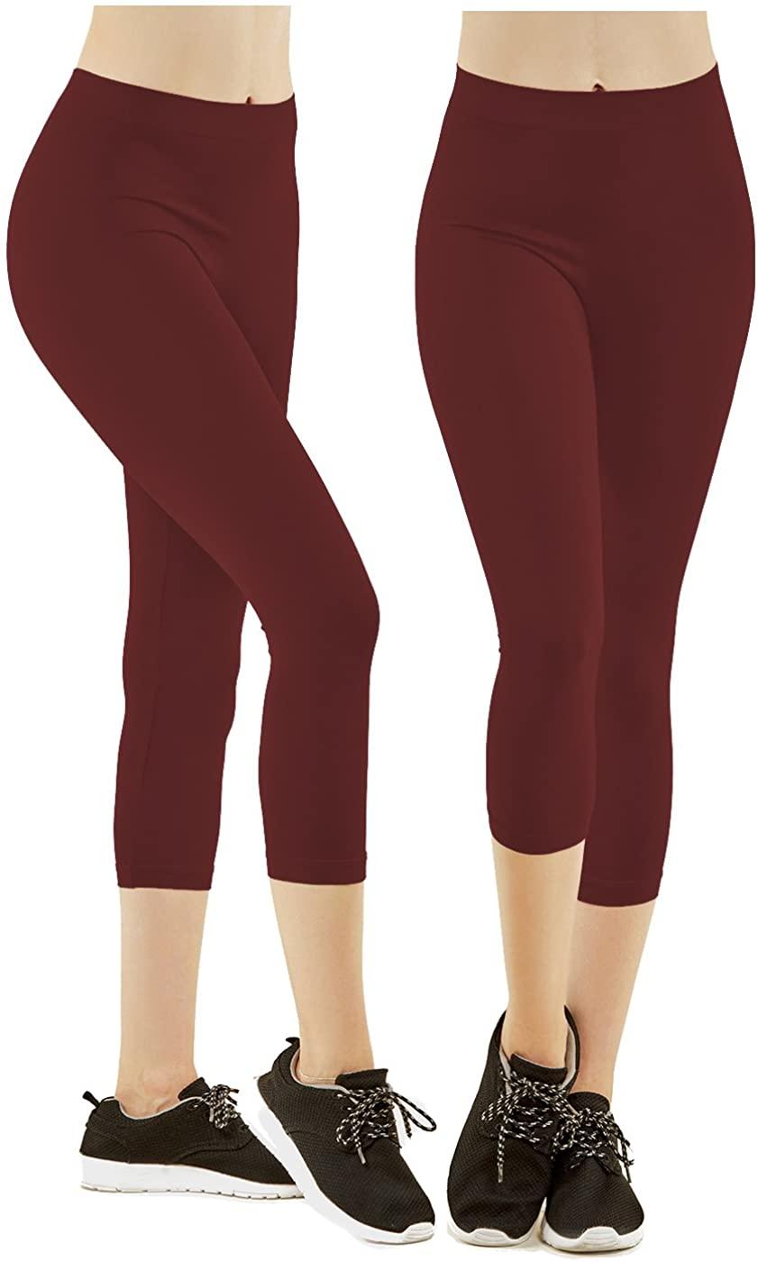 Gilbin 2 Pack Women's Ribbed Waistband Capri Length Leggings,One Size Fit, Super Stretch Yoga Leggings Yoga Capris