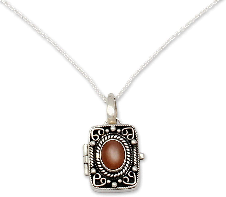 NOVICA Moonstone .925 Sterling Silver Locket Necklace, 18